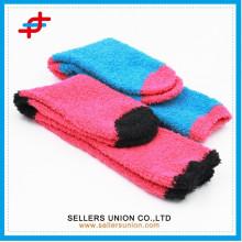 Helle Farbe Halbes Samt Damen dick gestrickte Frottee Socke