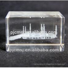 Cadeaux religieux islamiques islamiques en verre de cristal de laser avec le découpage de sable découpant