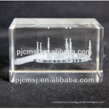 Laser crystal glass islamic muslim religious gifts with sand blasting carving