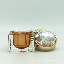 Frasco cosmético do diamante acrílico da forma quadrada de 30g 50g