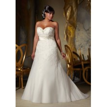 2015 Plus Size Organza Applique Sweetheart-Neckline Wedding Dress 2015 para mulheres gordas (YASA-901)