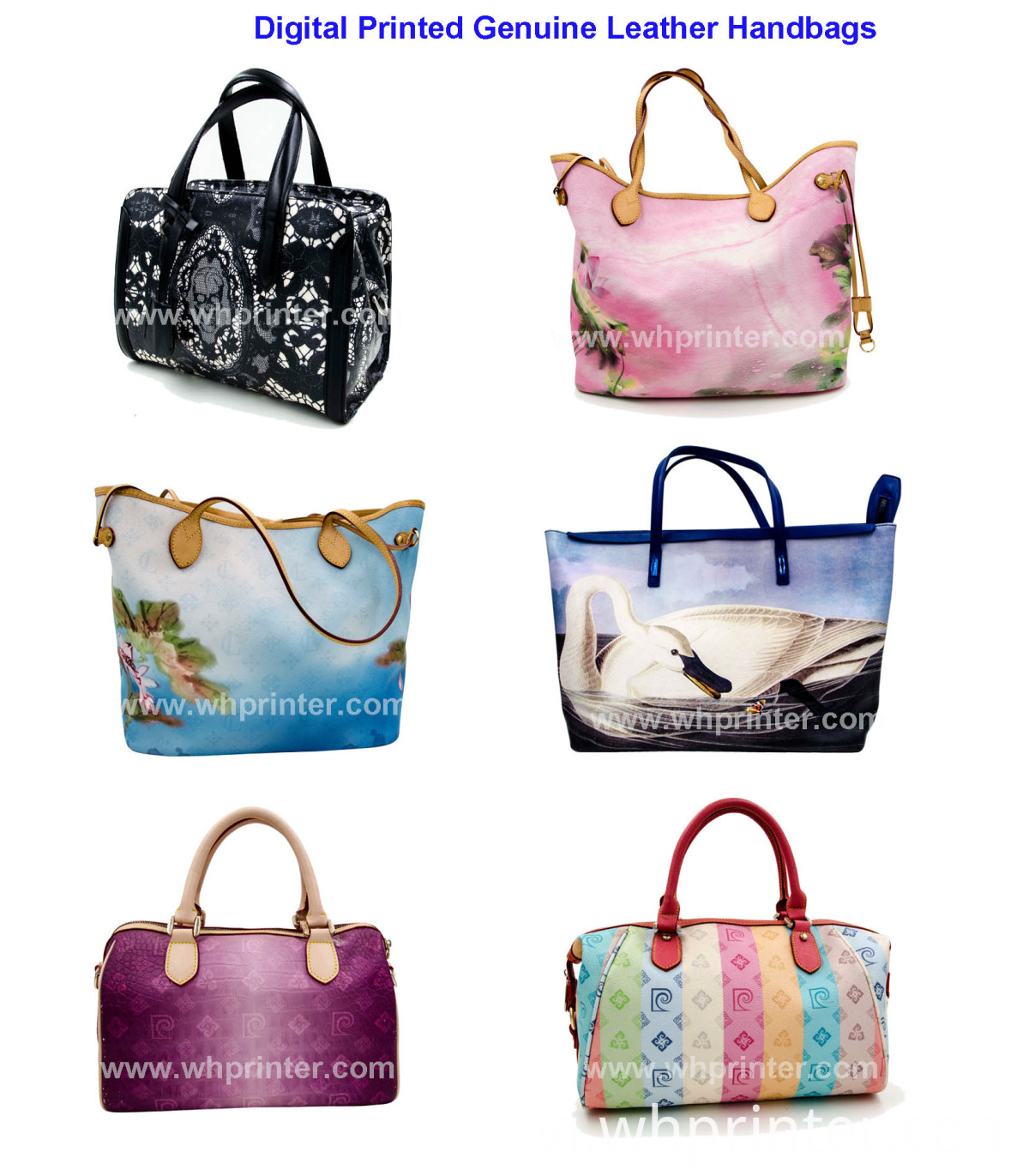 digital printed genuine leather handbag