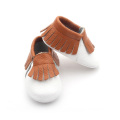 Small MOQ Leather Shoes White Brown Baby Moccasin Shoes