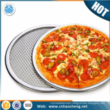 "6"" 8"" 9"" stainless steel pizza mesh screen seamless rimmed pizza pan"
