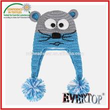 100% акриловый рисунок вязания животных ушанка, шляпа с ушами вязания крючком шаблон шапочка для детей