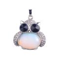 Очарование ювелирные изделия 925 стерлингового серебра кабошон сплава Сова кулон ожерелье опалитом камень маятник