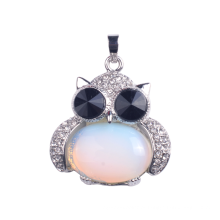Encanto joias 925 prata esterlina cabochão liga coruja pingente colar Opalite pedra pêndulo