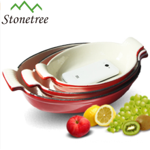 Oval Cast Iron Enamel fish dish with factory price