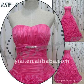 2016 Привышные Свадебное Платье Розовый Цветок Юбка Бальное Платье Грейс Вечернее Платье