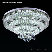 3 anneaux lustre en cristal LED plafonnier d'intérieur