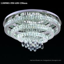 Lámpara de araña de techo con luz LED de cristal de 3 anillos