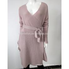 2017 last fashion elegant v neck belt style knit pure cashmere long cardigan
