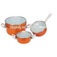 casseroles de sauce d'émail d'émail et ensembles d'émail de couleur d'orange casseroles de sauce d'ustensiles de cuisine d'émail et ensembles d'émail de couleur orange