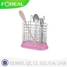 Suporte de utensílio de metal em forma redonda com base de plástico