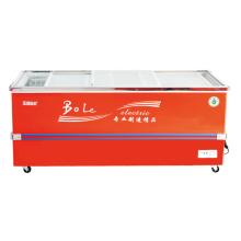 610L Porta deslizante Deep Cabinet Ilha Freezer para Supermercado