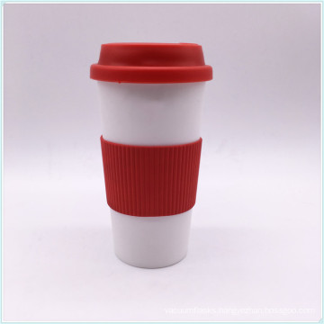 12oz White Color Double Wall Plastic Thermo Coffee Cups