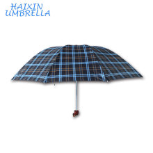 "OEM 24"" Polyester Large Quality Men Lattice Check 3 Fold Umbrella Promotional Made in China Online Wholesale"