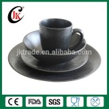 Wholesale black customized logo cheap ceramic dinnerware set