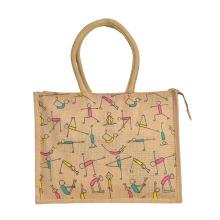 Large Capacity Shopping Custom Jute Burlap Beach Tote Bag with Colorful Printing