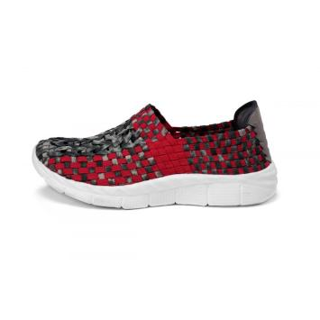 Classic Black And Red Interwoven Hollow Work Shoes