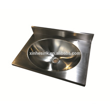 Stainless Steel durable commercial wall hung oval hand washing basin sink sanitary ware with backsplash for public use