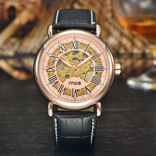 Luxury leather strap skeleton watch custom