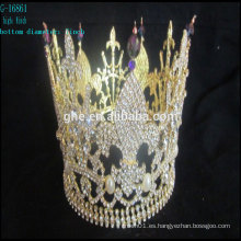 Nuevas coronas de cristal de la tiara del rey de la corona al por mayor coronas redondas del desfile