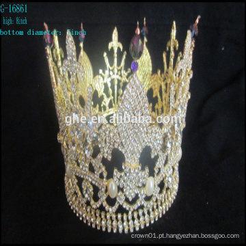 Atacado novo coroa rei tiara cristal contas contas rodada redonda