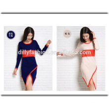 Mode unregelmäßigen Rand Pullover Damen Crew Neck Farbe Blockierung lange Swater