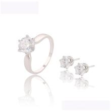 63620 xuping conjunto elegante último diseño Color de rodio Conjunto de joyas de CZ sintético