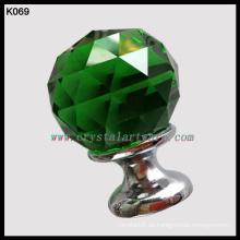 vidrio verde bola de cristal mango Empuje Jale las perillas por mayor