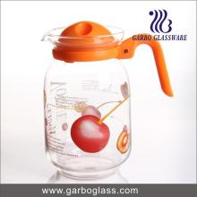 Hot Sale 1.6L Glass Water Pitcher, Juice Jug with Customized Decal Flower