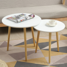 Nesting Wood Modern Coffee End Tables Decor Side Table for Living Room Furniture ( White, Set of 2 )