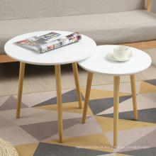Madeira de assentamento moderno café final tabelas mesa lateral de decoração para mobília de sala de estar (branco, conjunto de 2)