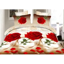 3D Романтичная Красная Роза Дизайн Дешевые комплекты постельного белья и Подогнанный лист постельного белья
