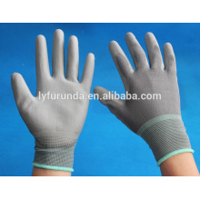 grey nylon knitted gloves with pu palm work gloves