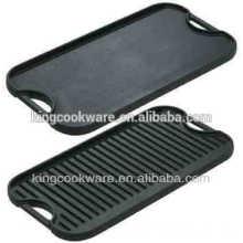 LFGB, certificación de la FDA y otro tipo de utensilios de cocina plancha de hierro fundido portátil con dos superficies para asar