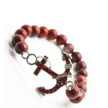 Red Jasper 8MM Round Beads Stretch Gemstone Bracelet with Diamante anchor alloy Piece
