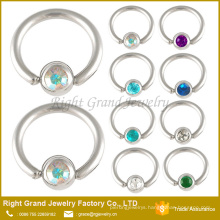 Customized Surgical Steel Crystal Jewelled Ball Closure Ring Captive Bead Rings