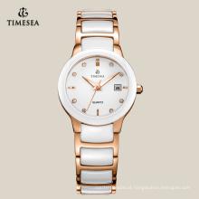 Relógio de cerâmica de luxo personalizado com IP Rose Gold Plating71076