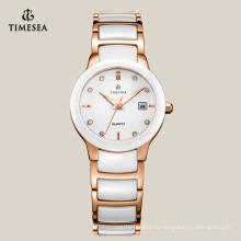 Подгонянные роскошные керамические часы с IP розовое золото Plating71076