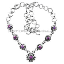 Beautiful Purple Turquoise Gemstone with 925 Sterling Silver Designer Charm Necklace