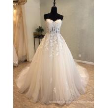Vestidos de casamento nupcial do laço do perolização