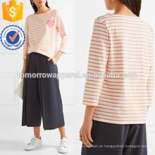 T-shirt de jersey de algodão listrado impresso manufatura atacado moda feminina vestuário (td4112b)