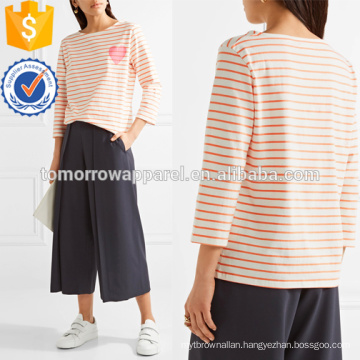 Printed Striped Cotton-jersey T-shirt Manufacture Wholesale Fashion Women Apparel (TA4112B)