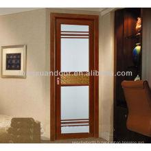 Porte en verre en aluminium, porte de la chambre 48 pouces, portes intérieures modernes préhung