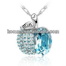 Collier en cristal en forme de pomme bleu Titanic