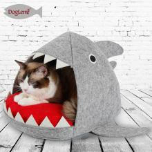 Haifisch-Design-Katzen-Bett-Höhlen-Haifisch-Haustier-Haus mit entfernbarer Kissen-Matte