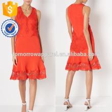 New Fashion Red V-Ausschnitt Abendkleid mit Spitze Applique Herstellung Großhandel Mode Frauen Bekleidung (TA5291D)