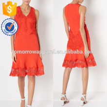 New Fashion Red V-Neck Evening Dress With Lace Applique Manufacture Wholesale Fashion Women Apparel (TA5291D)